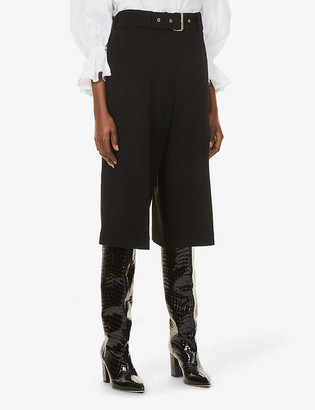 Rosetta Getty Belted relaxed-fit cropped high-rise wool trousers