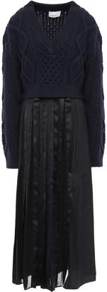 3.1 Phillip Lim Layered Cable-knit, Satin And Cotton-poplin Maxi Dress