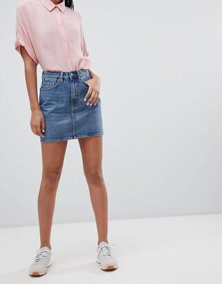 Weekday Wend Denim Mini Skirt