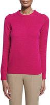 Michael Kors Long-Sleeve Jewel-Neck Cashmere Sweater, Geranium