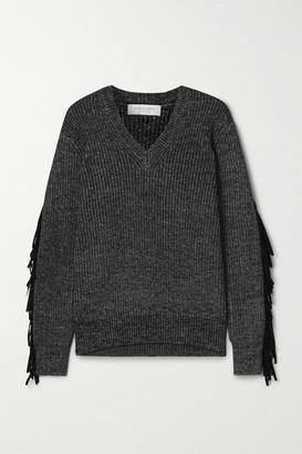 Michael Kors Collection Fringed Ribbed Cotton, Merino Wool And Cashmere-blend Sweater - Charcoal