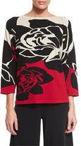 Joan Vass 3/4-Sleeve Rose Intarsia Sweater, Plus Size