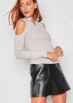 Missy Empire Marcy Grey Ribbed High Neck Cold Shoulder Long Sleeved Top