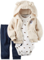 Carter's 3 Pc. Faux Fur Hoodie, Bodysuit & Pants Set, Baby Boys (0-24 months)