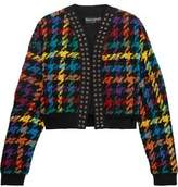 Balmain Houndstooth Cotton-Blend Bomber Jacket