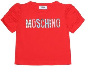 MOSCHINO BAMBINO Printed stretch cotton T-shirt