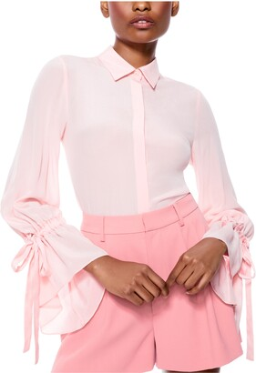 Alice + Olivia Willa Ruffle Cuff Silk Button-Up Blouse