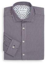 Robert Graham Tailored-Fit Micro Checkered Dress Shirt