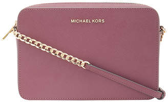 Michael Kors Women's Crossbodies MERLOT - Merlot Jet Set Leather Crossbody Bag