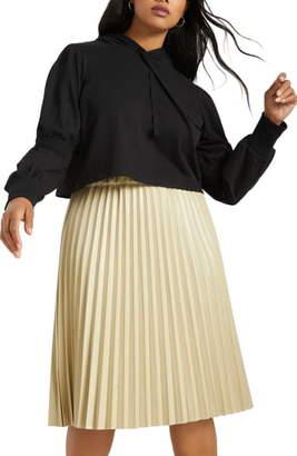 ELOQUII Juliet Sleeve Cropped Cotton Hoodie