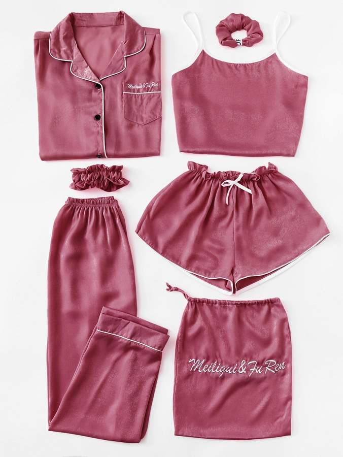 7pcs Letter Embroidered Cami Pajama Set With Shirt