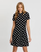 Dorothy Perkins Spot Collar Fit-and-Flare Dress
