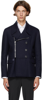 Neil Barrett Navy Leather Elbow Patch Jacket