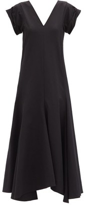 Jil Sander Handkerchief-hem Twill Midi Dress - Black