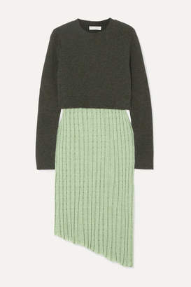 J.W.Anderson Asymmetric Layered Wool-blend And Linen-blend Midi Dress - Green