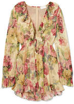 Zimmermann Melody Floating Ruffled Floral-print Silk-crepon Playsuit - Green