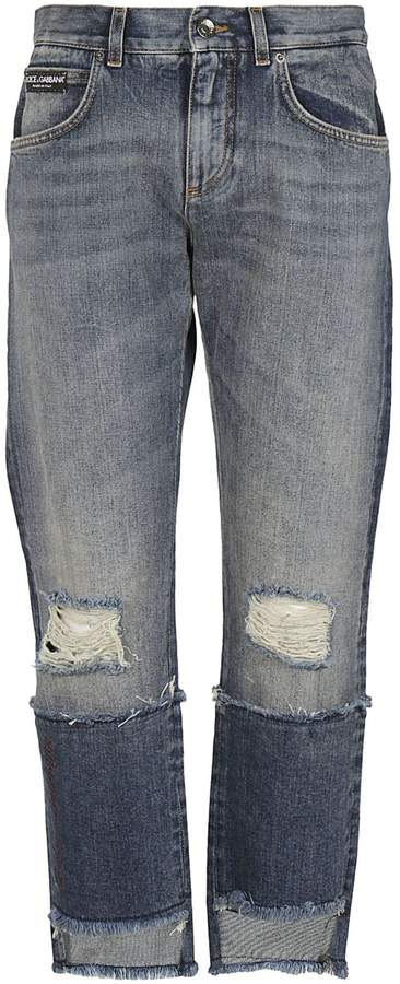 Dolce & Gabbana Cropped Distressed Double Jeans