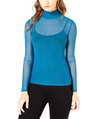 GUESS Women's Long Sleeve Corbin Mesh Top