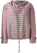 Jil Sander Navy striped hoodie - women - Polyamide/Acetate/Cupro - 36