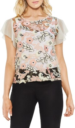 Vince Camuto Sequin & Embroidery Top