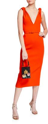 Oscar de la Renta Crepe Knotted-Shoulder Midi Dress