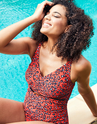 Figleaves Mala Underwired Belted Tummy Control Leopard Print Swimsuit - Longer Length D-GG