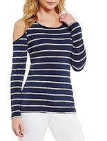 Calvin Klein Cold-Shoulder Stripe Matte Jersey Top
