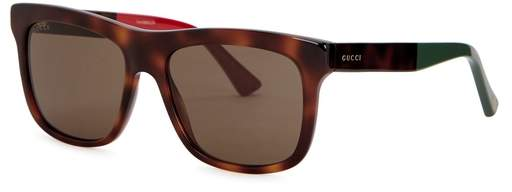 Gucci Tortoiseshell Wayfarer-style Sunglasses