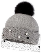 Helene Berman Genuine Fox Fur Pompom Hat