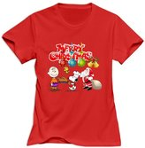 TWSY Women's Merry Christmas Charlie Brown And Snoopy T-Shirt US Size XL,100% Organic Cotton