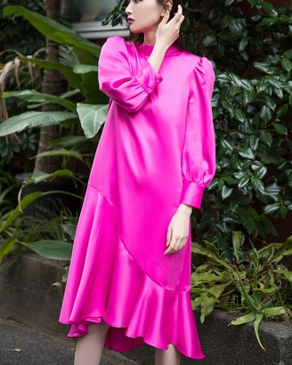 The Drop Women's Fuchsia Loose Mock Neck Long Sleeve Asymmetric Hem Midi Dress by @emisuzuki