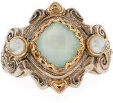 Konstantino Amphitrite Cushion Sea Blue Agate & Pearl Ring, Size 8