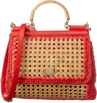 Dolce & Gabbana Sicily Raffia & Leather Shoulder Bag