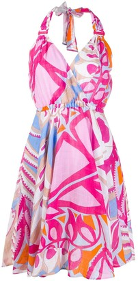 Emilio Pucci Geometric Print Halterneck Dress