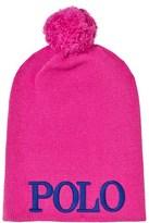 Ralph Lauren Pink Logo Pom Pom Beanie
