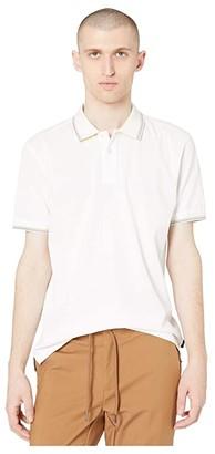 Paul Smith Short Sleeve Regular Fit Stripe Tipped Polo Shirt (White) Men's Clothing