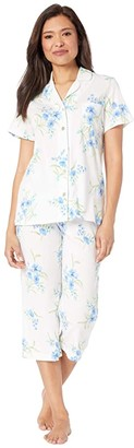Carole Hochman Soft Jersey Short Sleeve Capris Pajama Set (White/Aqua Floral) Women's Pajama Sets