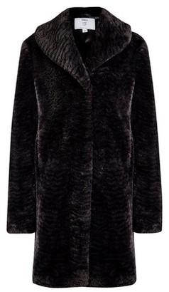 Dorothy Perkins Womens Dp Tall Black Shawl Collar Faux Fur Coat, Black