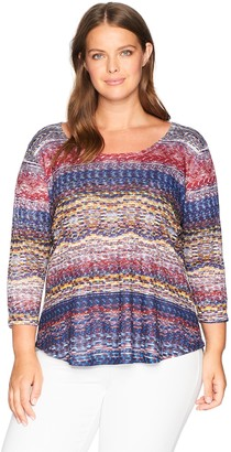 One World ONEWORLD Women's Plus Size 3/4 Sleeve Scoopneck Printed Top