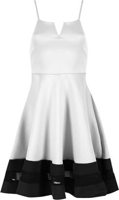 Fashion Star Womens Mesh Contrast Panel Strap V Neck Cami Flared Swing Skater Dress Cream/Black
