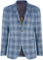 Etro Wool Check Jacket, Blue, EU 46
