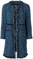 Theory oversized tweed coat - women - Cotton/Polyester/Polyurethane/Viscose - L