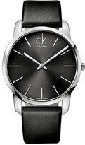 Calvin Klein Mens Swiss City Stainless Steel Black Leather Strap Watch