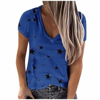 kolila Womens T-Shirt Blouse Color Block Contrast Short Sleeve Crew Neck Casual Sweatshirt Star Print Pullover Tops (Blue M)