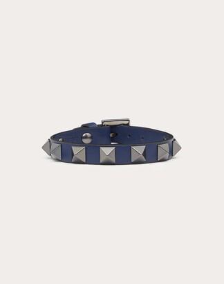 Valentino Rockstud Leather Bracelet With Ruthenium Studs Man Dark Grey 100% Pelle Di Vitello - Bos Taurus OneSize