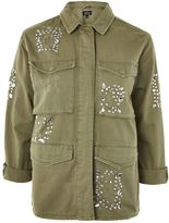 Topshop TALL Crystal Embroidered Shacket