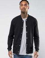 Asos Jersey Bomber Jacket With Snaps In Black