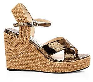 Jimmy Choo Women's Dellena Platform Espadrille Leather & Jute Wedges