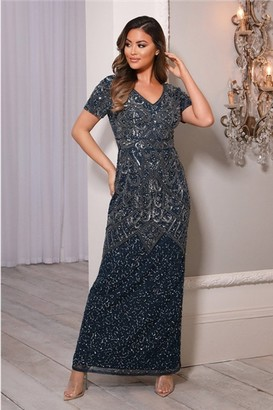 Sistaglam LORIE NAVY ALL OVER EMBELLISHED SHORT SLEEVE MAXI DRESS