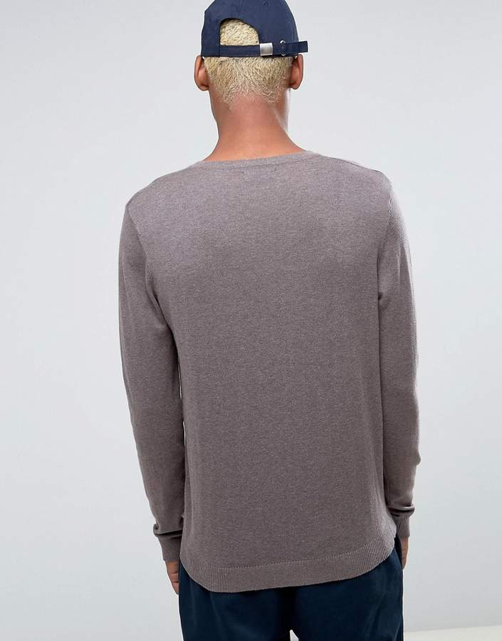 Asos V-Neck Cotton Sweater In Brown